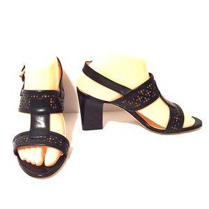 New! Aquatalia Black T-Strap Open Toe Heels!!